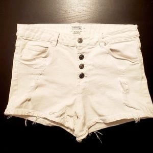 Button up white frayed Jean shorts